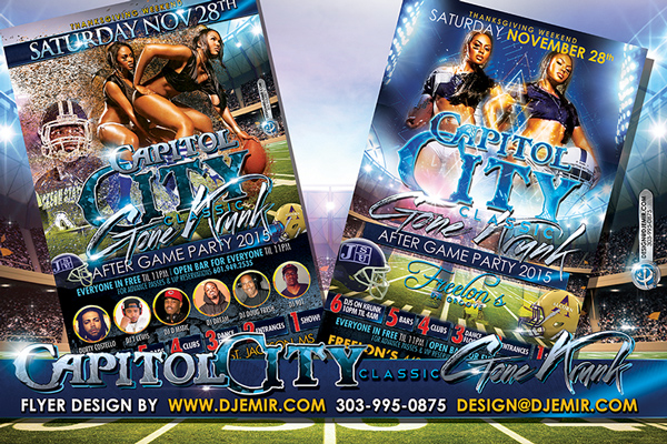 Capitol City Classic Gone Krunk Football Game Party Flyer Design