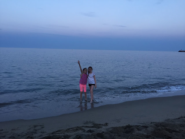 stephs two girls on beach in evening