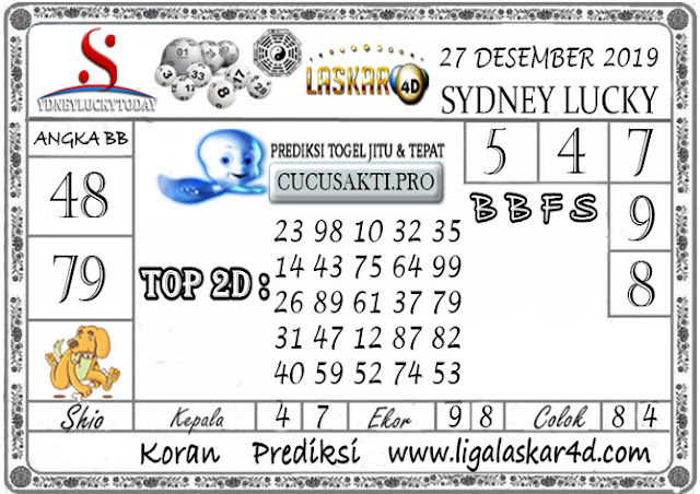 Prediksi Sydney Lucky Today LASKAR4D 27 DESEMBER 2019