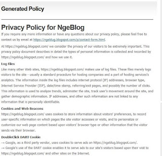 Cara Membuat Privacy Policy untuk Blog