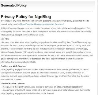 Cara Mudah Membuat Privacy Policy Buat Blogger - Tampilan Generate Privacy Policy