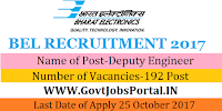 Bharat Electronics Limited Recruitment 2017-192 Deputy Engineer