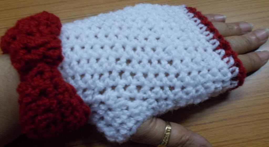 sweet nothings crochet cute bow fingerless gloves