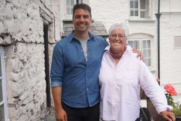 BBC Bloom Presenter Chris Bavin and Su Maddocks who leads the Clovelly in Bloom Project. Photo copyright BBC (All Rights Reserved)