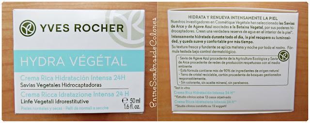 Crema Rica Hidratación Intensa Hydra Végétal (Yves Rocher)