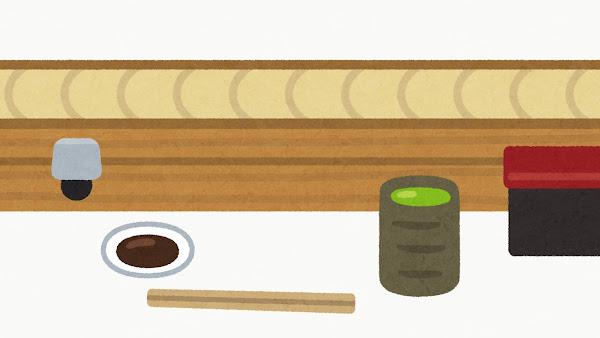 回転寿司のレーンのイラスト(空)