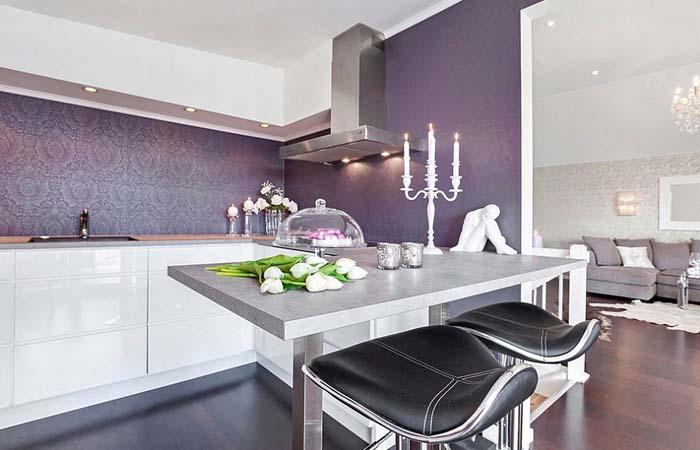 mor mutfak duvar kağıdı dekorasyonu