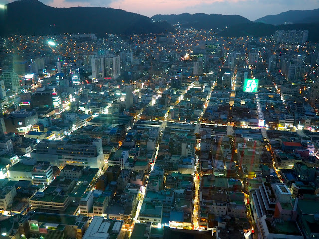 View of Nampo-dong at night from Busan Tower, South Korea