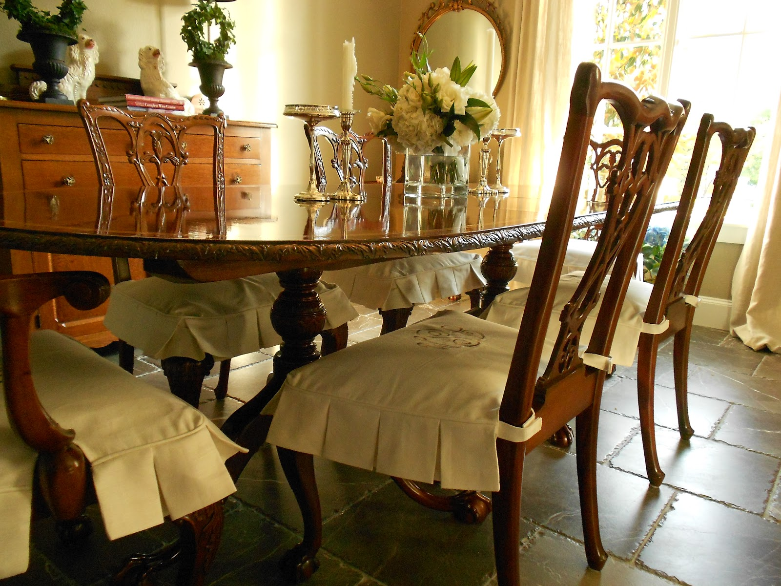 Custom Dining Chair Slipcovers Fishing Legs My Faux French Chateau Monogrammed Room