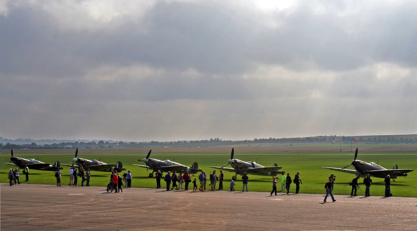 Duxford Airshow September 14th 2014 - Line up of spitfires