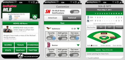 Sporting News Pro Baseball App for HP Touchpad