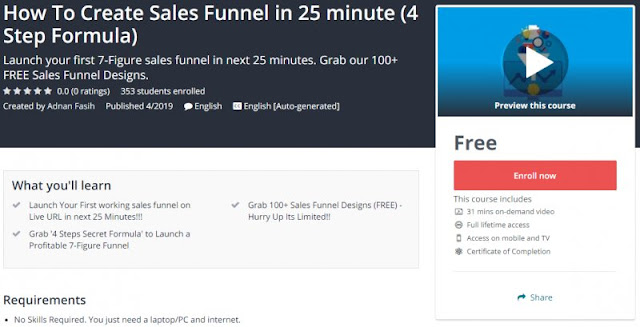 [100% Free] How To Create Sales Funnel in 25 minute (4 Step Formula)