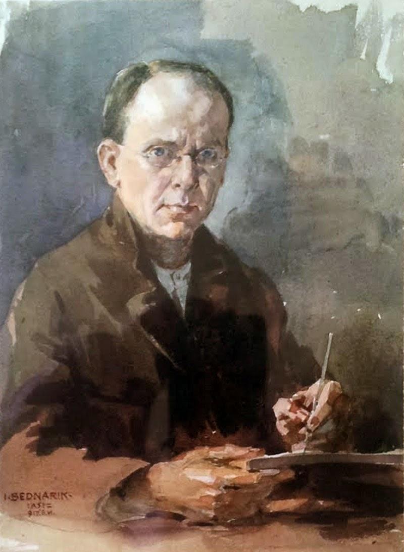 Ignat Bednarik, Self Portrait, Portraits of Painters, Fine arts, Painter Ignat Bednarik