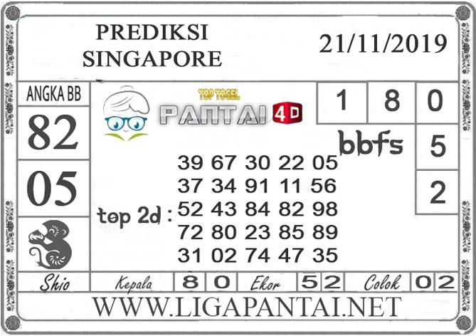 """PREDIKSI TOGEL """"SINGAPORE"""" PANTAI4D 21 NOVEMBER 2019"""