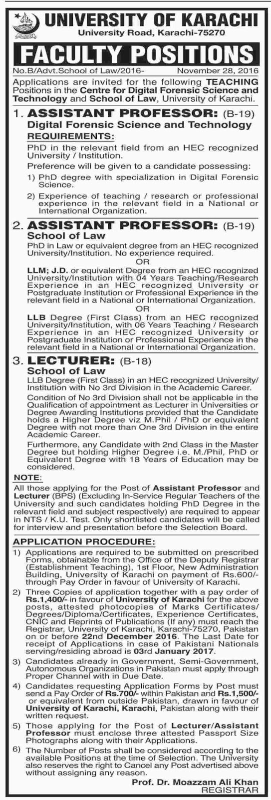 University of Karachi Professor Jobs