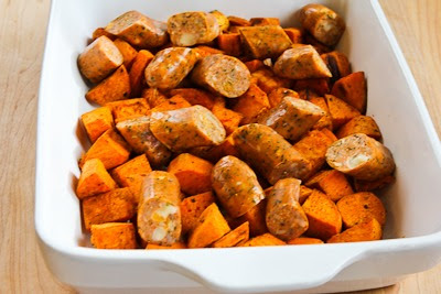 Easy Spicy Roasted  Sweet Potatoes and Chicken-Garlic Sausage found on KalynsKitchen.com.