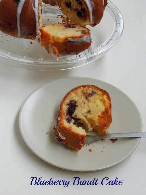Blueberry bundt cake with glaze