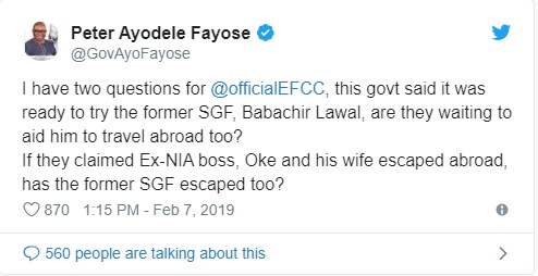 Are you waiting for Babachir Lawal to travel abroad too? Fayose asks EFCC