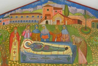Η κοίμηση της Αγίας Φιλοθέης - τοιχογραφία   του Ησυχαστηρίου «Παναγία των Βρυούλων» στα Πατήσια.