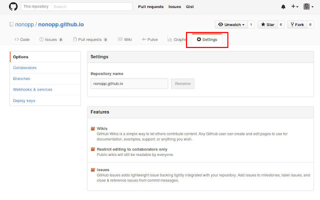Pestaña Settings de repositorio en Github