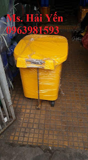 Thùng rác y tế 60 lít, thùng rác nhựa HDPE, thùng đựng chất thải y tế giá rẻ
