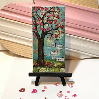 whimsical tree art, valentines day sign, valentines day art