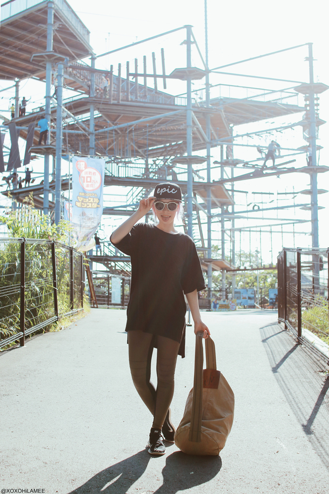 Japanese Fashion Blogger,MizuhoK,OOTD,20180701,GU=long tee/forever 21=leggings/NIKE=knit sneakers/zeroUV x EPIC=baceball cap,sunglasses/JW ANDERSON for UNIQLO=Duffel bags