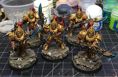 Custodian Guard with Halberds WIP early armor highlights complete