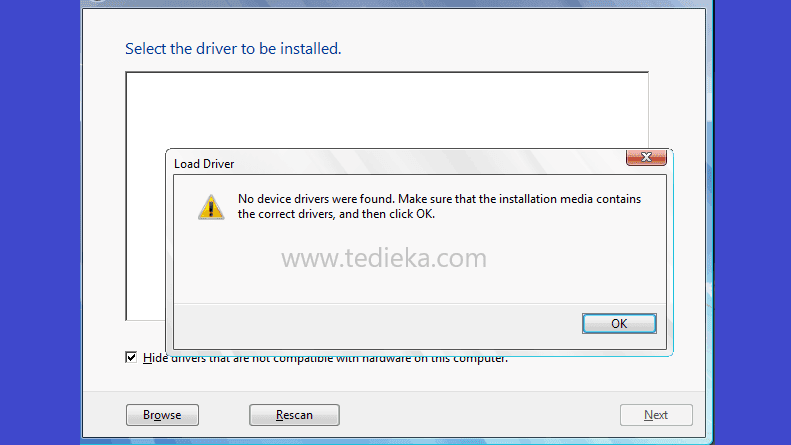 contoh error no device driver were found