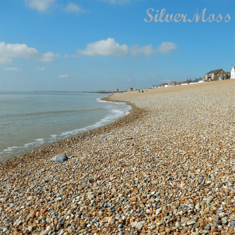 A curving line of shingle against the sea as you look up the beach