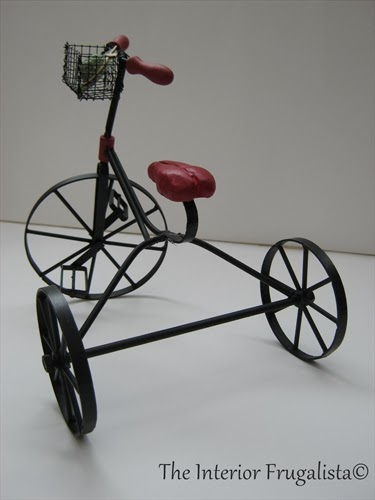 Miniature vintage iron and wood tricycle