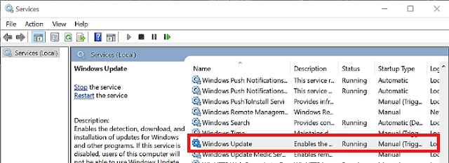 services.msc windows update