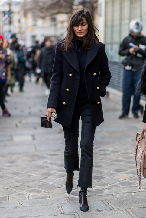 cropped flared jeans black peacoat black jeans booties chic french street style
