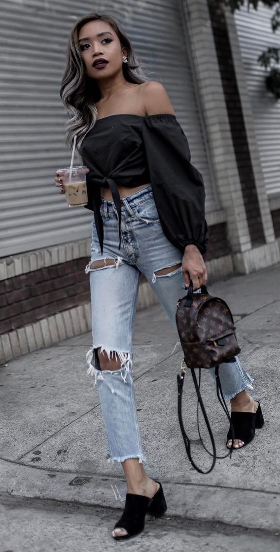 what to wear with ripped jeans: black off shoulder top + bag + heels
