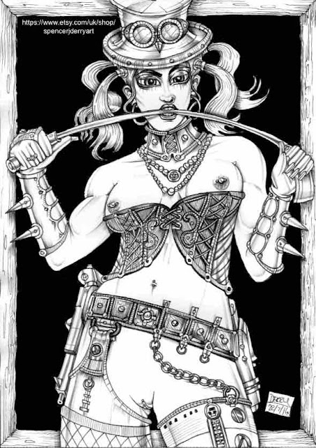 Steampunk Female Nude Fetish Art Drawing by Spencer John Derry