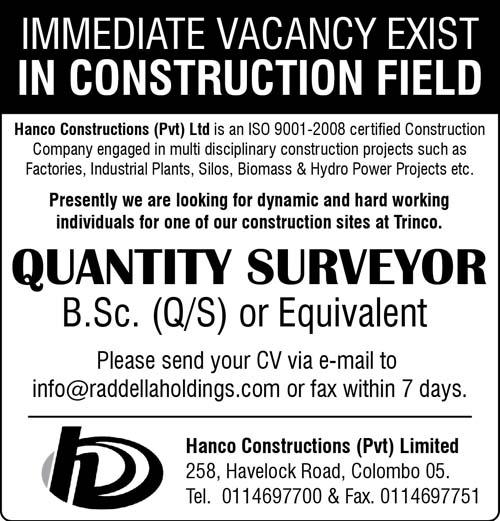 Vacancy for Quantity Surveyor at Henco Construction
