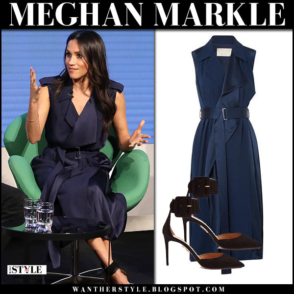 Meghan Markle in blue navy satin sleeveless wrap trench dress jason wu february 28 fashion
