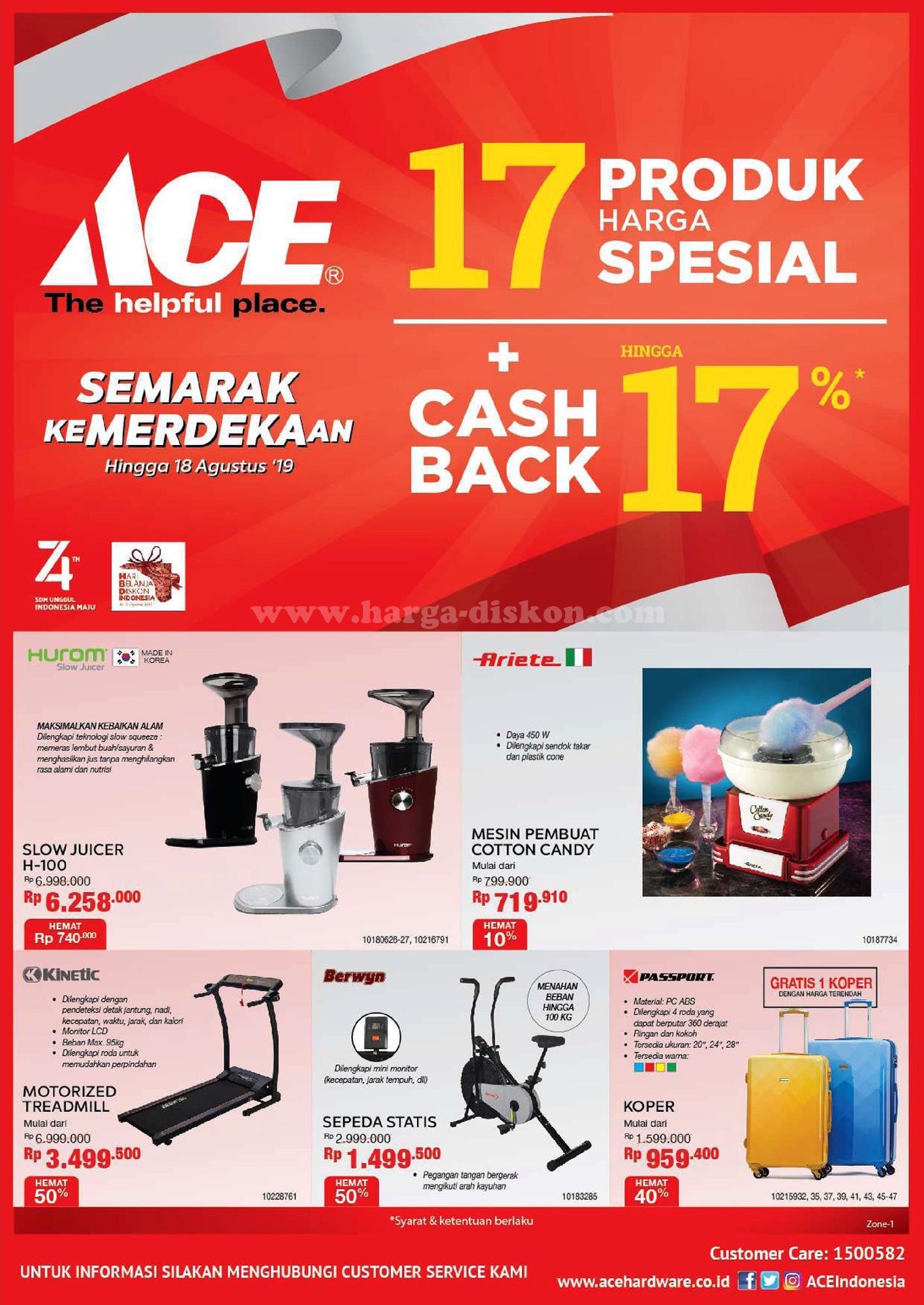 Promo Ace Hardware Cashback Hingga 17 Atau Harga Spesial 17 Produk Periode 16 18 Agustus 2019 Harga Diskon