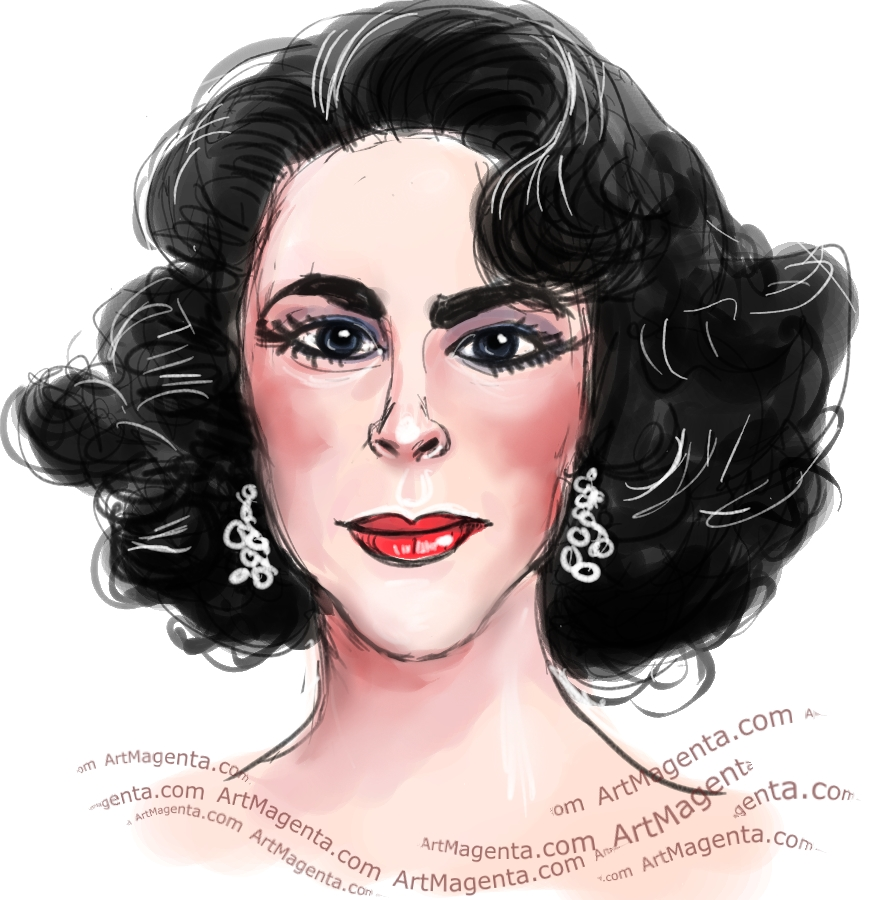 Elizabeth Taylor caricature cartoon. Portrait drawing by caricaturist Artmagenta