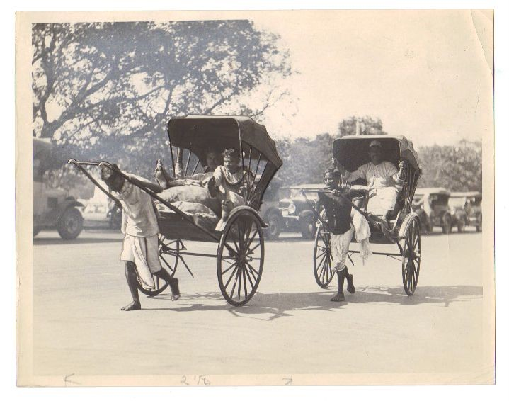 Native Hand Pulling Rickshaws in Calcutta (Kolkata) India