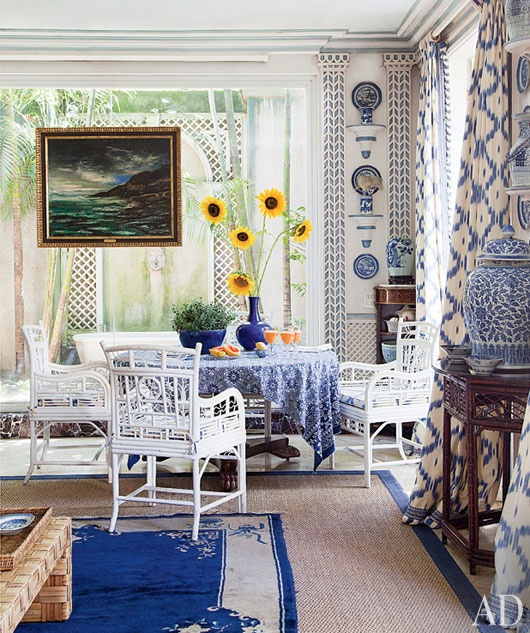 Palm Beach Chic In Miami: The Glam Pad: Blue And White And Palm Beach Chic