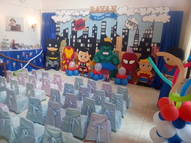 Dekorasi background / backdrop ulang tahun anak kecil tema Superhero
