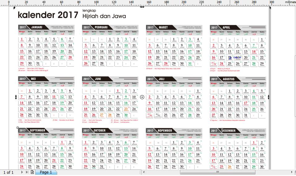 Kalender 2017 M plus Tanggal