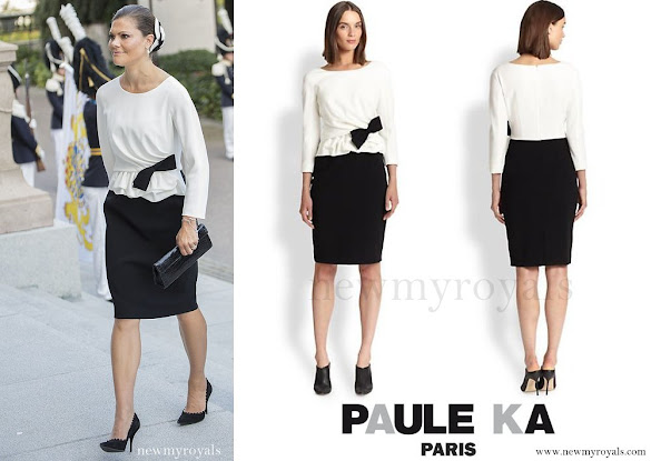 Crown Princess Victoria wore PAULE KA Colorblock Peplum Dress