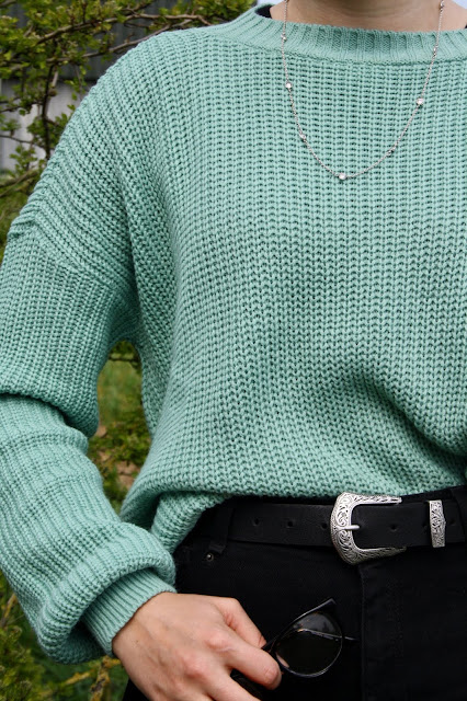 Femme Luxe Finery Teal Oversized Split Side Knitted Jumper - Lore