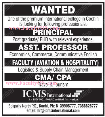 ICMS International College, Kottayam, Wanted Assistant