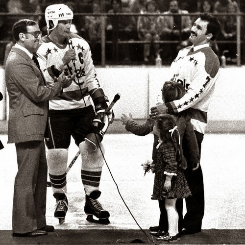 On Yvon Labre Retirement Night (Book Pg. 26), Ryan Walter and the Caps chipped in to get Yvon a pair of children