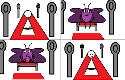 Cartoon of purple butterfly eating spoons