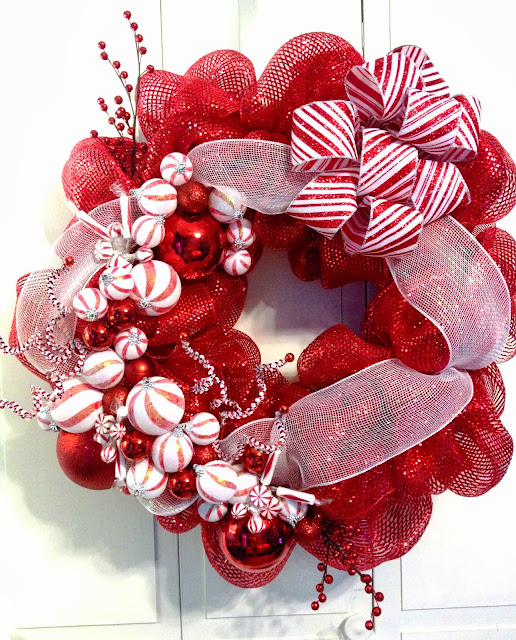 Christmas Holiday Deco Mesh - Red & White, Peppermint Deco Mesh Wreath - Tangled Wreaths ™