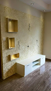 TV Unit with wallpapered back panel